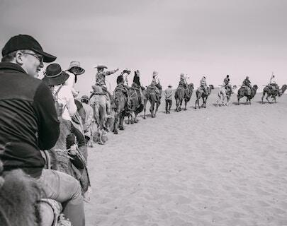 A line of horseback riders following the leader.